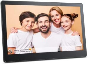 FRAMEO 15.6 Inch FHD Digital Picture Frame, MARVUE Vison 15 Smart WiFi Electronic Digital Photo Frame Large Touch Screen&16GB Storage,Easy Setup to Share Video and Photos from Anywhere