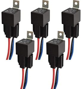 Gebildet JD1912 Car Relay Harness 12V 40A 4 Pin SPST Harness Sockets with Color-Labeled Wires for Automotive Truck Van Motorcycle Boat (Pack of 5)