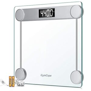 GymCope Digital Bathroom Scale for Body Weight (440lbs/200kg), High Precision Step On Scale with LCD Backlit, Large Tempered Glass Platform, Tape Measure and Batteries Included (Silver)