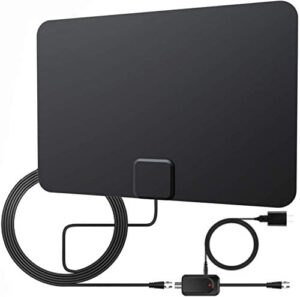 Indoor TV Antenna-2021 Newest Indoor Digital TV Antenna with Amplifier-250 Miles Range Reception Supports 4K 1080p and All Older TVs-18ft Coax HDTV Cable/AC Adapter