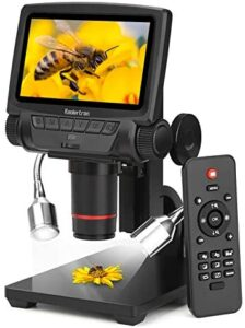 Koolertron 5 inch LCD 1080P Wireless Remote Control Digital Microscope with Adjustable Stand, HDMI/AV/USB Output Camera Video Recorder with 8 LED Adjustable Light Source