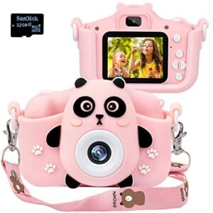 Langwolf Kids Camera for Girls, Digital Camera for Kids Toys Children Selfie Photo Video Camera with 32GB SD Card, Gifts for Girls and Boys by Age 3-9 Years
