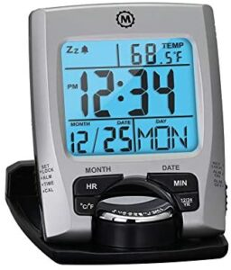 Marathon Travel Alarm Clock with Calendar & Temperature - Phone Stand Function - Battery Included - CL030023 (Silver)