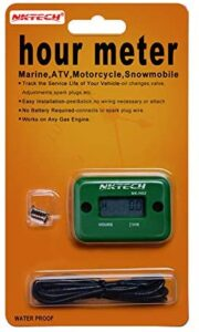 NKTECH NK-HS2 Inductive Hour Meter for Gas Engine Lawn Mover Marine ATV Motorcycle Boat Snowmobile Dirt Bike Outboard Motor Generator Waterproof Hourmeter (Green)