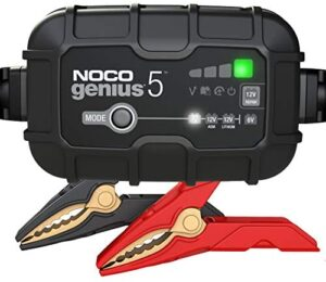 NOCO GENIUS5, 5-Amp Fully-Automatic Smart Charger, 6V and 12V Battery Charger, Battery Maintainer, Trickle Charger, and Battery Desulfator with Temperature Compensation