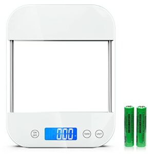 Nicewell 33lbs Digital Kitchen Food Scale for Weight Loss, Baking, Cooking and Meal Prep, Scale for Food Ounces and Grams with Tempered Glass, Batteries Included