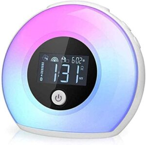 Night Light Alarm Clock, Wake Up Alarm Clock Bluetooth Speaker Lamp Night Light, Dimmable Warm Light & Colorful Light Beside Lamp Music Player for Kids, Party, Bedroom, Camping