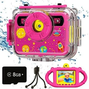 Ourlife Kids Camera, Selfie Waterproof Action Cameras Toys for Girls Age 6-15, 1080P 8MP 2.4 Inch Large Screen Cam with 8GB TF Card, Silicone Handle, Fill Light, Children Toddler Gift for Girls(Pink)