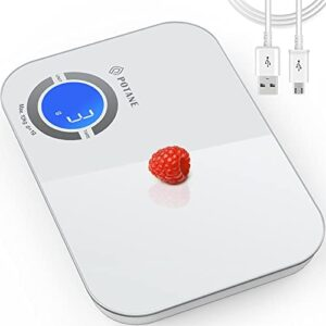 POTANE Digital Food Scale, 22lb Rechargeable Kitchen Scale for Cooking Baking, 1g/0.1oz, Large Backlit LCD Display, Tempered Glass Big Panel(White)