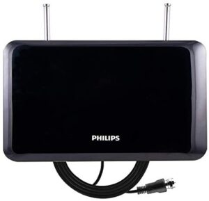 Philips Accessories Indoor TV Antenna, Perfect Home Decor, Digital, HDTV Antenna, Smart TV Compatible, 4K 1080P VHF UHF, 6Ft Coaxial Cable, Dipoles, Black, SDV1227B/27