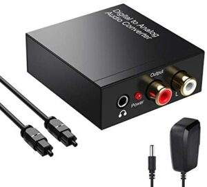 Rybozen 192kHz Digital to Analog Audio Converter- Optical to RCA with Optical Cable &Power Adapter, Digital SPDIF TOSLINK to Stereo L/R and 3.5mm Jack DAC Converter for PS4 Xbox HDTV DVD Headphone