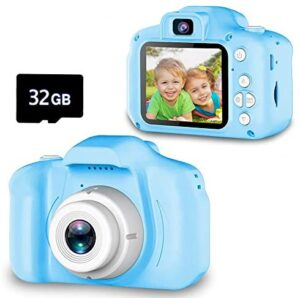 Seckton Upgrade Kids Selfie Camera, Christmas Birthday Gifts for Boys Age 3-9, HD Digital Video Cameras for Toddler, Portable Toy for 3 4 5 6 7 8 Year Old Boy with 32GB SD Card-Blue