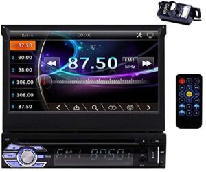 Single Din DVD Car Stereo CD Player 1 Din Car Radio with Backup Camera GPS Navigation in Dash Head Unit 7 inch Retractable Capacitive Touch Screen Bluetooth MP5 Player AM/FM/RDS 8GB Map Card Included