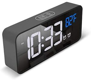 Small Wireless LED Digital Clock for Living Room, Bedroom Decor, Desk, Nightstand, Under TV with 4 Brightness Display, Large Number, Dual Alarm, Snooze (Black)