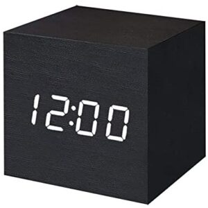T&F Digital Alarm Clock Wooden LED Light Multifunctional Modern Cube Displays Date Temperature for Home Office Travel-Black