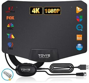 TGVi's TV Antenna, Amplified HD Indoor Digital Antenna Up to 120 Miles Range, TV Antenna Switch Powerful Signal Booster for Smart TV, Support 4K 1080P HD Free Local Channels,14ft Coax HDTV Cable Black