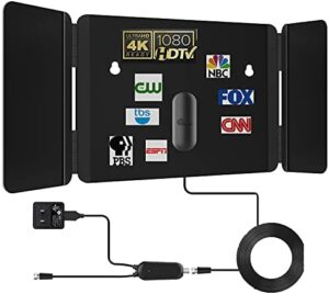 TV Antenna - Amplified HD Digital Indoor Antenna Long 200 Miles Range HDTV Antenna - 17ft Coax Cable Indoor Antenna for 4K HD Local Channels - Support All Television