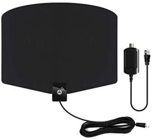 TV Antenna -Amplified HD Indoor Digital HDTV Antenna 120+Miles Range with Amplifier Signals Booster Support 4K 1080p and All TVs,13.2ft Coaxial Cable, Black and All Old Tv for Local Channels