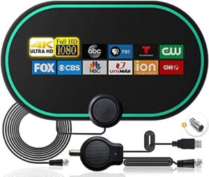 TV Antenna, Indoor Amplified HD Digital TV Antenna Up to 200 Miles Range, Strength Power Amplifier Signal Booster, Ultra-Thin Antenna Support 4K 1080p and All Television, 14ft Cable Receiver
