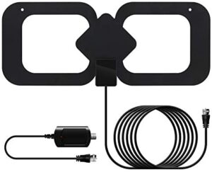 TV Antenna, Newest Digital Indoor HDTV Antenna 200 Miles Long Range Amplified Signal Booster, Support 4K 1080P Fire Stick Smart TV All Old Television with 13.2ft Coax Cable