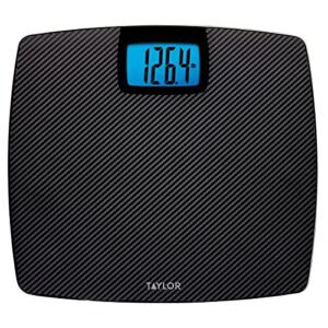 Taylor 500 lb. Digital Extra Thin Bathroom Scale Extra-High Weight Tracking Carbon Tempered Glass (Black Carbon)