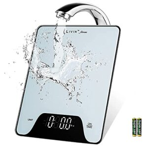 [Upgraded] LIVIN Digital Food Scale, Large Bright LED Display, 1g/0.05oz Precise Graduation, Water-Resistant Top, 4 Units, Easy Tare, Portable for Kitchen Dieting/Cooking/Baking, 22lbs/10kgs Max