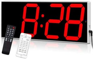 West Ocean Digital LED Wall Clock Large Oversized Display with Wireless Remote Smart Control and Countdown Alarm Multifunction Digital Wall Clock (Red)