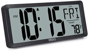 XREXS Large Digital Wall Clock, Battery Operated Alarm Clocks for Bedroom Home Decor, Count Up & Down Timer, 14.17 Inch Large LCD Screen with Time/Calendar/Temperature Display (Batteries Included)