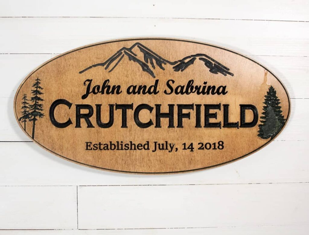 Personalized Established family sign with mountains