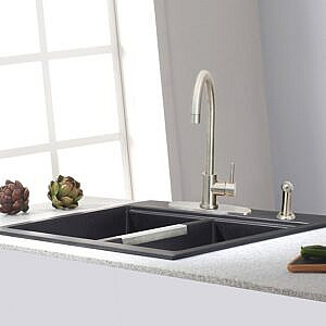 Kitchen Sink Faucet Single Handle with Side Sprayer & Deck