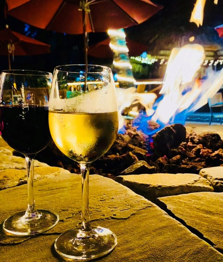 wine by the firepit at Waterway Cafe