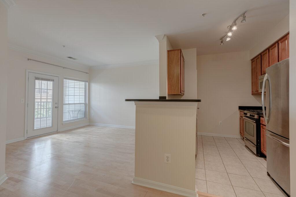 Exchange at Van Dorn Condos Roosevelt unit living area and kitchen