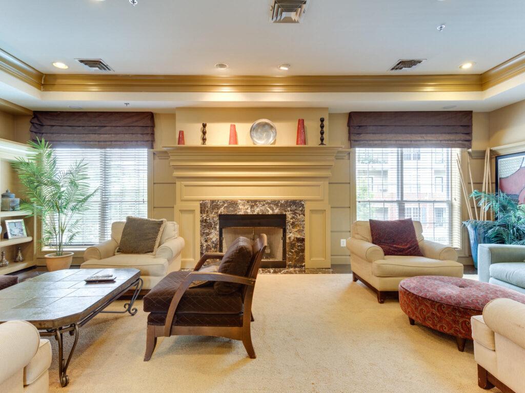 Exchange at Van Dorn Condos great room fireplace