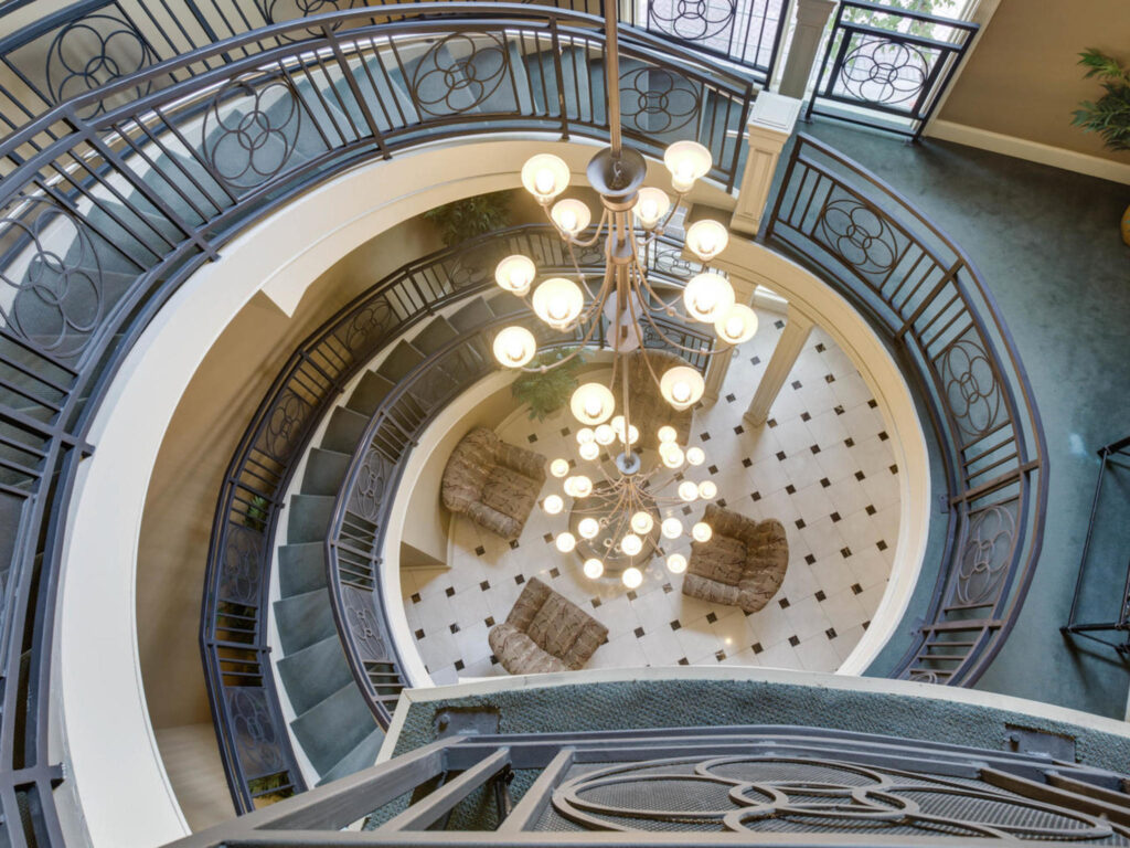 Exchange at Van Dorn Condos clubhouse stairs