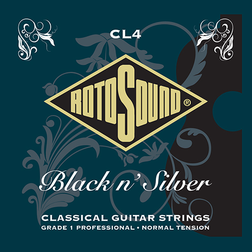 cl4 Rotosound Superia Black n Silver classical nylon strings for professional Spanish guitar. High tension tie end