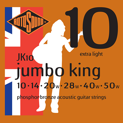 jk10 Rotosound Jumbo King Acoustic phosphor bronze guitar strings long life platinum flattop string
