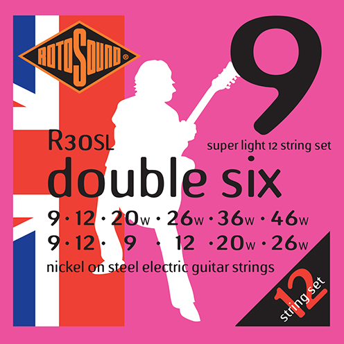 r30sl 12 string light gauge Rotosound Roto nickel wound electric guitar strings. Best quality affordable giutar string for rock pop country metal funk blues