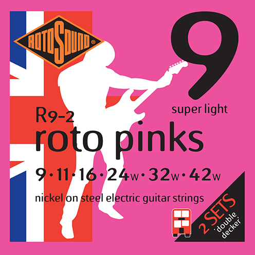 r9-2 double pack Rotosound Roto nickel wound electric guitar strings. Best quality affordable giutar string for rock pop country metal funk blues