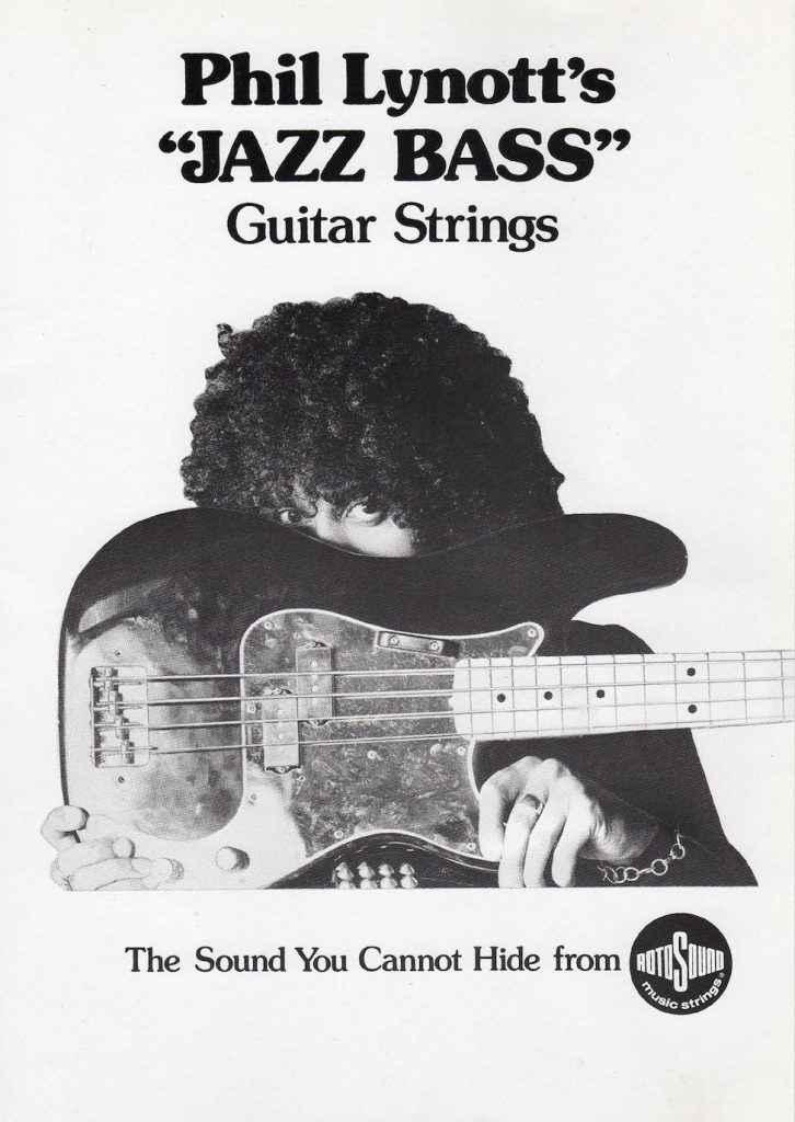 Phil Lynott Thin Lizzy Jazz Bass strings advert Rotosound archive copy