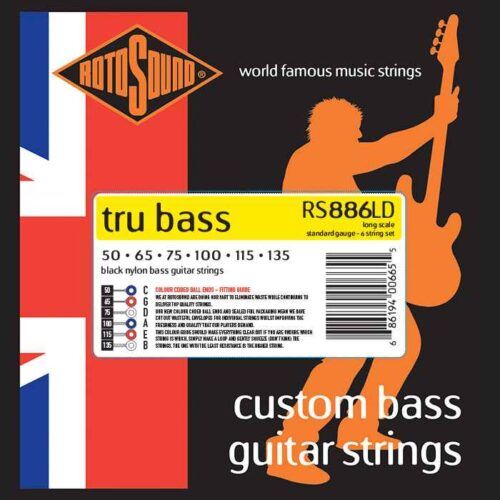 rs886ld 6 string 6string Rotosound Tru Bass guitar strings black nylon yellow silk double doublebass tone sound paul mccartney low tension fretless dub reggae