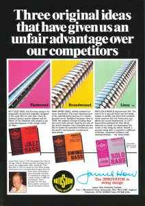 Rotosound 1987 Three ideas advert - RS66 RS77 RS55 print