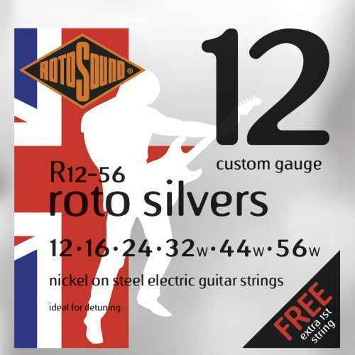 r12-60 Rotosound Roto Silvers nickel wound heavy custom hybrid electric guitar strings. Best quality affordable giutar string for rock pop country metal funk blues
