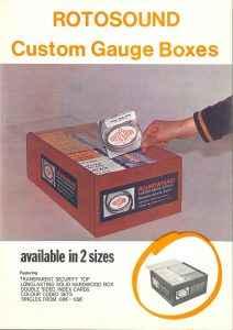 Rotosound Custom gauge boxes 1971 advert. Vintage advertising. Guitar strings. Guitar ad