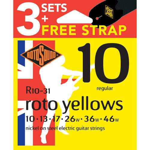 R10-31 Rotosound Roto nickel wound electric guitar strings 3 Packs with Strap.