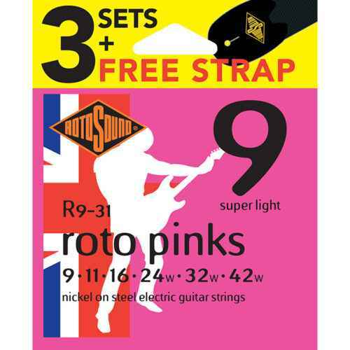 R9-31 Rotosound Roto nickel wound electric guitar strings 3 Packs with Strap.