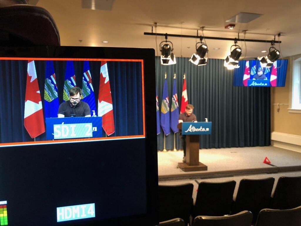 Live Streaming Audio Visual. Government media event Calgary.