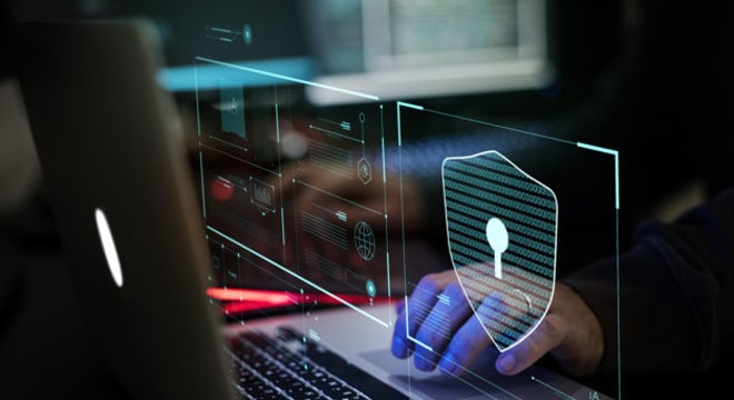 Hacker working on computer