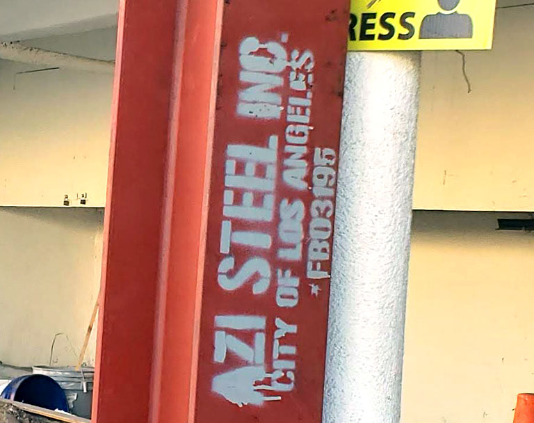 Azi Steel Sign on Structural Steel