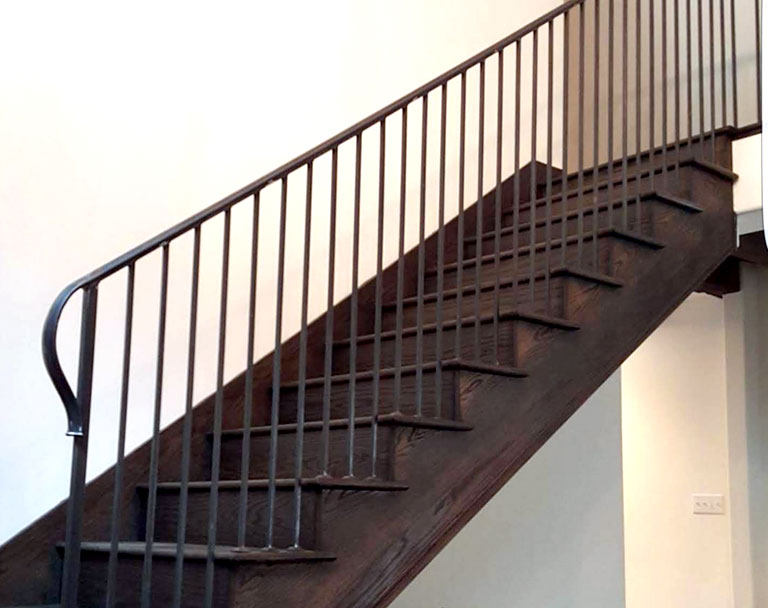 Wood and Steel Stairs in Home