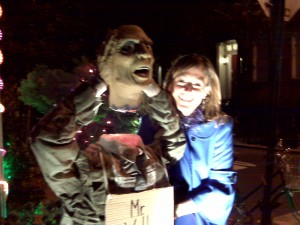 Hope mugs for the camera with Mr. Wall Street, a very ghoulish guy.